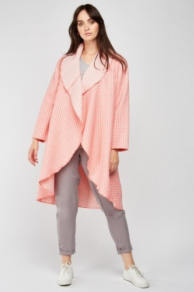 Geometric Patterned Waterfall Jacket
