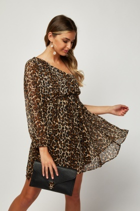 One Shoulder Animal Print Dress