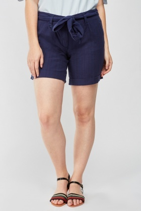 Pin Striped Navy Cotton Shorts