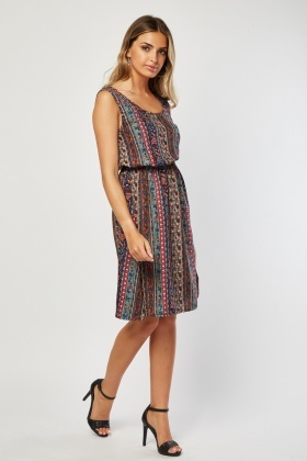 Sleeveless Ethnic Print Tunic Dress