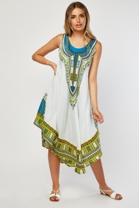 Tribal Print Asymmetric Tent Dress