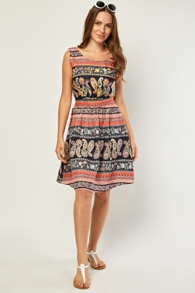 Ethnic Paisley Mix Print Dress