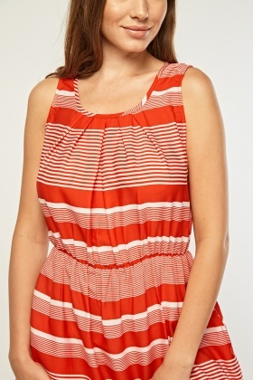 Pleated Front Striped Dress
