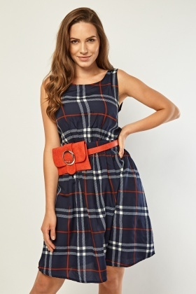 Round Neck Plaid Dress