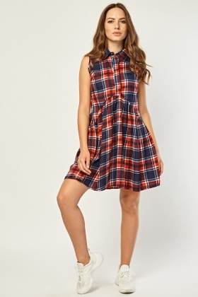 Sleeveless Tartan Smock Dress