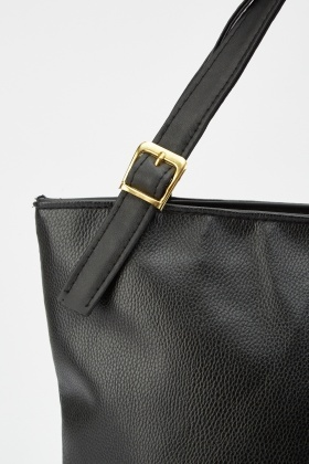 Buckle Strap Detail Faux Leather Bag