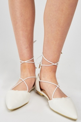 Tie Up Flat Court Shoes