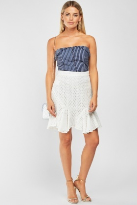 Cut Work Ruffle Godet Skirt