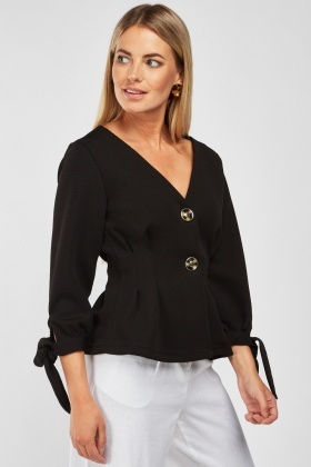 Flared Hem Fitted Blouse