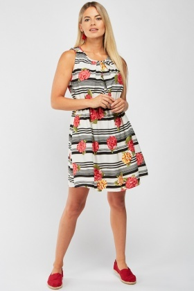 Floral Striped Contrast Dress