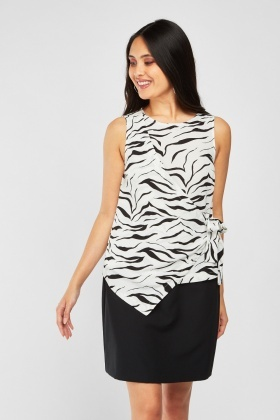Tie Up Front Animal Print Top