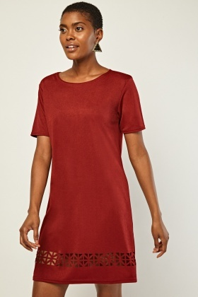 Cut-Work Hem Shift Dress