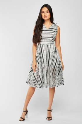 Sleeveless Polka Dot Skater Dress