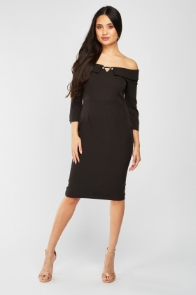 Faux Pearl Off Shoulder Midi Dress