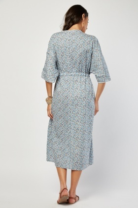 Embroidered Printed Midi Dress