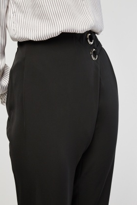 Eyelet Trim Tapered Trousers