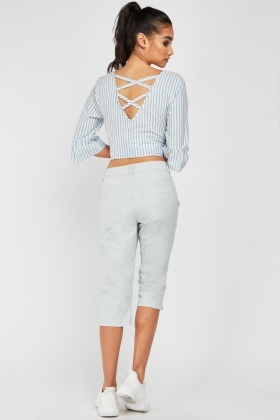 3/4 Length Aqua Crop Pants
