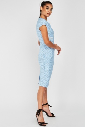 Cap Sleeve Houndstooth Pencil Dress