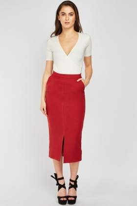 High Waist Textured Pencil Skirt