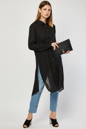 Long-Line Sheer Chiffon Shirt
