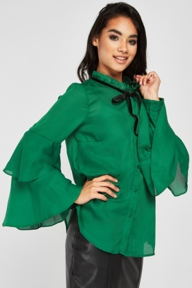 Ruffle Tie Up Neck Blouse