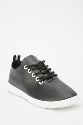 Faux Leather Textured Trainers