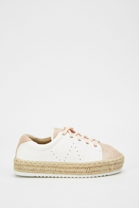 Lace Up Perforated Espadrilles