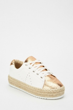 Metallic Contrast Perforated Shoes