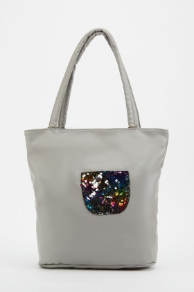 Sequin Patch Tote Bag