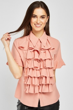 Layered Ruffle Front Blouse