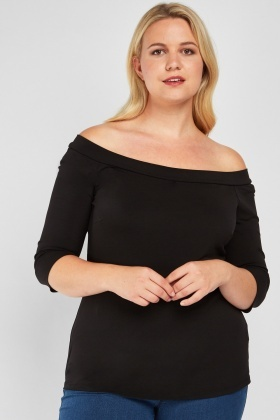 Off Shoulder Basic Black Top