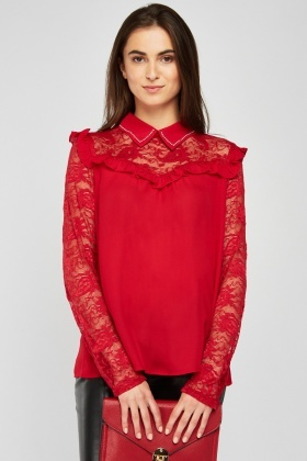 Ruffle Lace Insert Red Blouse