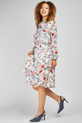 Ruffle Tiered Floral Midi Dress