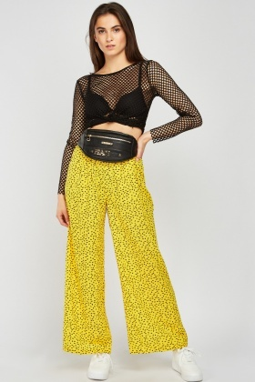 Scatter Print Wide Leg Trousers
