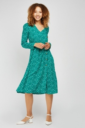 Scattered Print Wrap Swing Dress