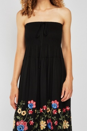 Flower Embroidered Bandeau Dress