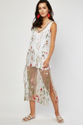 Slit Side Mesh Embroidered Dress