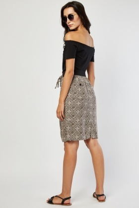 Tile Printed Midi Skirt