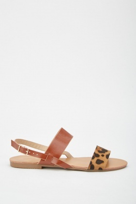 Contrast Animal Print Flat Sandals