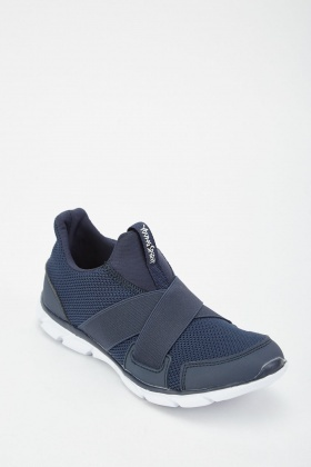 Elastic Cross Strap Knit Trainers