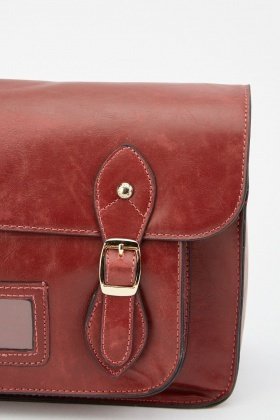Faux Leather Satchel Shoulder Bag