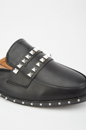 Studded Faux Leather Mules