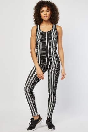 Polka Dot Striped Top And Leggings Set