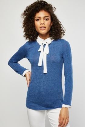 Speckled Ruffle Collar Insert Knit Top