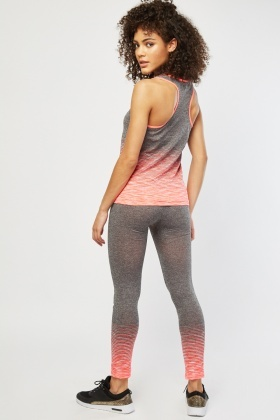 Speckled Tank Top And Leggings Gym Set