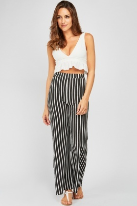 Textured Stripe Wide Leg Trousers