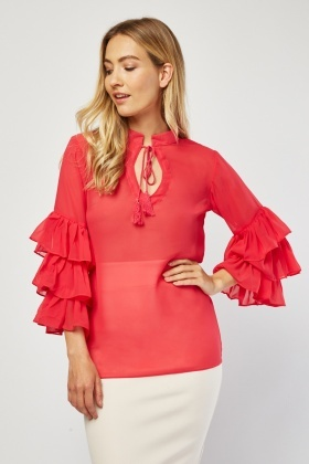 Tie Up Tassel Front Chiffon Blouse