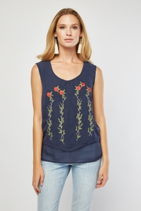Embroidered Flower Chiffon Top