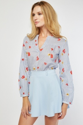 Flower Stripe Contrasted Blouse