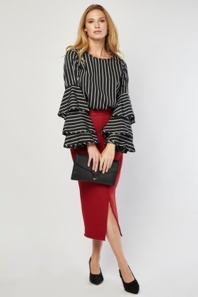 Stripe Lauered Sleeve Blouse